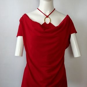 Sexy Red Blouse with Neck Accent Sz Medium